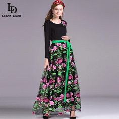 Winter Women Elegant Long Dress Patchwork Flower Floral Embroidery Party Dresses $85.13   => Save up to 60% and Free Shipping => Order Now! #fashion #woman #shop #diy  http://www.clothesdeals.net/product/ld-linda-della-winter-women-elegant-long-dress-patchwork-flower-floral-embroidery-party-dresses