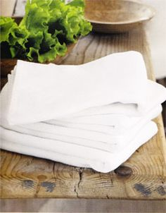 A big stack of fresh kitchen towels - I love white cotton flour sacks and kitchen towels from WS Real Kitchen, Kitchen Dining, Kitchen Decor, Easy Cooking, Cooking Tips, Barefoot Contessa, White Dishes, Kitchen Essentials, Dish Towels