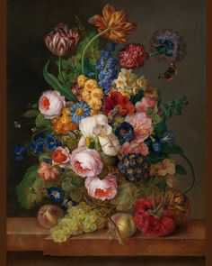 Joseph Nigg - Still life with flowers, fruit and butterflies. Art Floral, Fabulous Beasts, History Of The Eagles, Mythical Birds, Parrot Tulips, Fauna, Beautiful Paintings, Daffodils, Flower Art