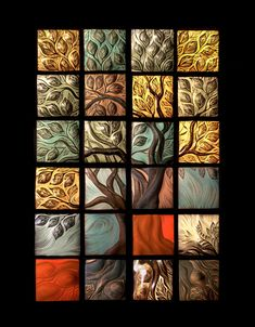 carved ceramic tree tiles