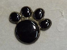 paw black cat dog stained glass suncatcher or tree ornament