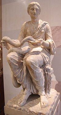 In Greek and Roman mythology, Hygieia (also Hygiea or Hygeia), was a daughter of the god of medicine, Asclepius. She was the goddess/personification of health, cleanliness, and sanitation. She was the daughter of Asclepius and Epione.