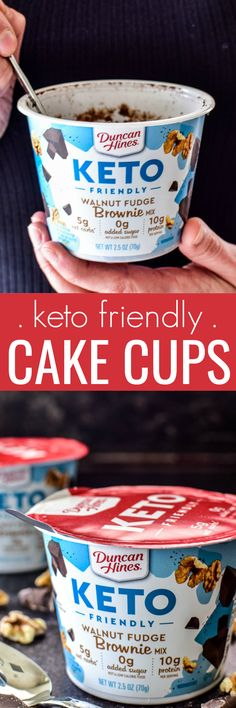 My family is obsessed with these Keto Friendly Mug Cakes! They're SO DELICIOUS. and have 5 g net carbs 0 added sugar and g protein per serving! Mug Recipes, Bakery Recipes, Cupcake Recipes, Snack Recipes, Keto Recipes, Healthy Recipes, Skinny Recipes, Sweets Recipes, Kitchen Recipes