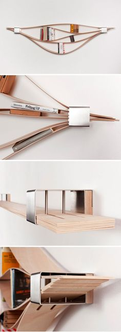 wooden shleving. scaffale di legno #shelving Chuck est un concept d'étagère murale stupéfiant, réalisé par la designer allemande Natascha Harra-Frischkorn.