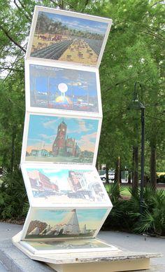 Art sculpture of vintage postcards of Orlando.