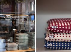 Cushions + flagship store window in Helsinki / Johanna Gullichsen