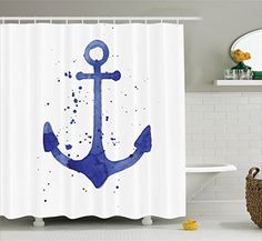 ... Collection Watercolor Illustration Of Anchor With Color Drops All Around  Navy Equipment Retro Print Polyester Fabric Bathroom Shower Curtain 75  Inches ...