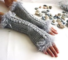 Items similar to LIGHT GRAY Fingerless Gloves, Wool Women Mittens, Arm Warmers with satin ribbon, Hand Knitted, eco friendly on Etsy – Hand Knitting Crochet Mittens, Fingerless Mittens, Knitted Gloves, Knit Crochet, Knitting For Beginners, Wool Yarn, Arm Warmers, Hand Knitting, Eco Friendly