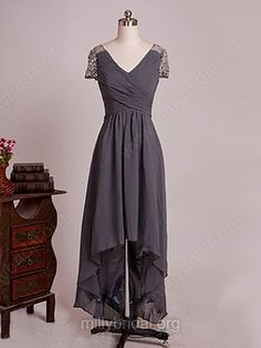 Cheap V-neck Gray Chiffon Beading Asymmetrical Mother of the Bride Dresses Modest Homecoming Dresses, Junior Dresses, Mothers Dresses, Bride Dresses, Beaded Chiffon, Cheap Dresses, Gray Dress, Dress For You, Mother Of The Bride