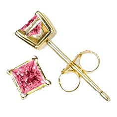 Pink Diamond Earrings in 14k Yellow Gold (0.75 carat): - Furnishdream.com- Online Store selling Diamond and Fashion Jewelry