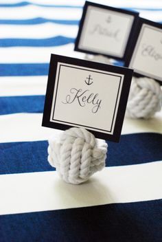 Preppy Anchor Nautical Summer Party from WH Hostess - Rope Placecards by Nautical Favors, Nautical Party, Nautical Wedding, Nautical Rope, Diy Halloween Treats, Diy Halloween Decorations, Halloween Stuff, Halloween Halloween, Halloween Makeup