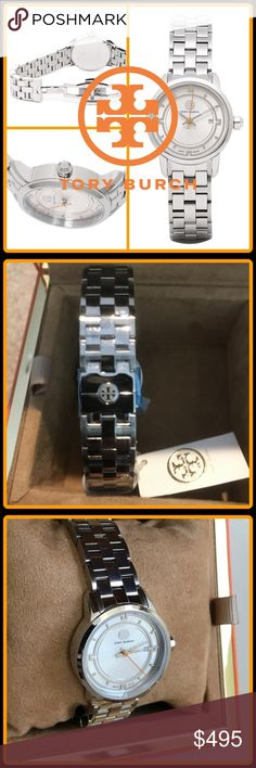 """JUST IN 🆕 'SILVA' STainLess STeeL WaTcH TORY comes up! This design makes the logo of Tory Burch appearing to the clockface of the big circle type slightly a motif and will get lots of looks. This simple design is easy to wear well daily for years to come! -Stainless Steel  -Sapphire Crystal  -Water resistant to 50 meters -Quartz movement -Date dial  -Made in Switzerland -Dial: 1.25"""" -Band: 0.75"""" -Diameter: 2.25""""  Closet Guidelines ^ Bundle Discount ^ No Trades ^ Make Offers Thur Offer…"""