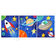 Art for Kids  3 Space Themed PRINTS  8x10  Solar System by nJoyArt, $45.00