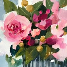 """Daily Paintworks - """"Signature"""" - Original Fine Art for Sale - © Libby Anderson Acrylic Flowers, Abstract Flowers, Plant Painting, Rose Art, Fine Art Gallery, Flower Art, Decoupage, Canvas Art, Art Drawings"""