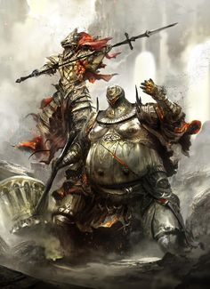 A very good painting of a extremely hard boss fight in the game dark souls. Dark Souls 2, Dark Souls Armor Sets, Dark Fantasy, Medieval Fantasy, Fantasy Art, Fantasy Races, Ornstein Dark Souls, Soul Saga, Bloodborne Art