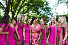 This is a really great idea. Simple Indian inspired Bridesmaids dresses. The bride could be in a traditional Indian dress or a traditional white American style gown