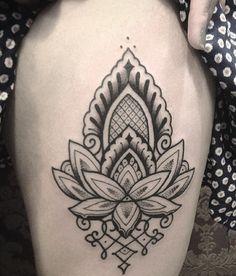 35 Stunning Lotus Flower Tattoo for Cute People Lotus Flower Tattoo Meaning, Lotus Flower Tattoo Design, Flower Tattoo Meanings, Hip Piercings, Tattoo Pierna, Flower Thigh Tattoos, Tattoo Thigh, Hindu Tattoos, Mandala Tattoo