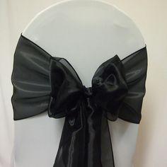 Black organza chair sash