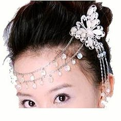 Fashion Jewelry  Hair Accessory  White Butterfly and Flower with Silvertone Hanging Chains and Clear Beads Design Bridal Hair Clip Style 0474 Ali -- You can get additional details at the image link.(This is an Amazon affiliate link and I receive a commission for the sales)