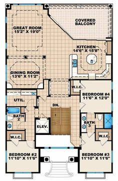 Florida Style House Plans - 3736 Square Foot Home, 2 Story, 4 Bedroom and 2 3 Bath, 4 Garage Stalls by Monster House Plans - Plan 55-216