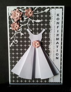 Diy And Crafts, Crafts For Kids, Paper Crafts, Confirmation Cards, Origami Dress, Dress Card, Homemade Greeting Cards, Decopage, Baby Scrapbook