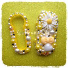 SWAROVSKI ACCESSORIES - Sparkly Yellow Daisy Fiat 500 car key cover - Sparkle with Emily