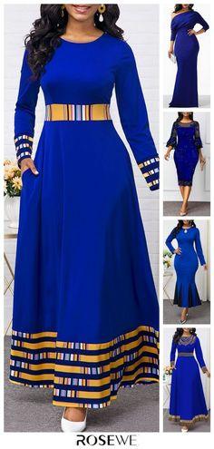 Dresses For Women Blue Dresses For Women, Latest African Fashion Dresses, African Dresses For Women, African Print Dresses, African Print Fashion, African Attire, Women's Fashion Dresses, Clothes For Women, Maxi Dresses