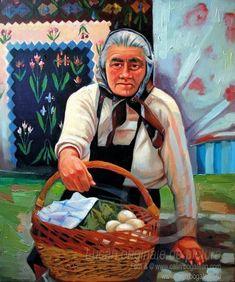 Portret de femeie țărancă cu coș cu ouă portret pictat în ulei pe pânză pictură originală tablou portret în ulei pe pânză pictură realistă hiperrealistă portret unicat semnat de pictorul român Călin Bogătean, membru al Uniunii Artistilor Plastici din Romania. Portret de femeie țărancă cu coș cu ouă pictură tablou în ulei Princess Zelda, Artist, Painting, Fictional Characters, Artists, Painting Art, Paintings, Fantasy Characters, Painted Canvas