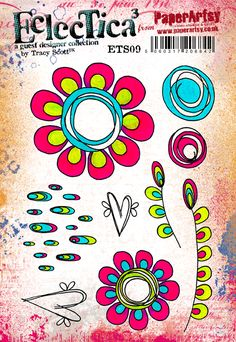 NEW PaperArtsy Products {Ecletica³ Tracy Scott} by Tracy Scott Tracy Scott, Simple Collage, Frantic Stamper, Art Journal Techniques, Plate Art, Stencil Patterns, Flower Doodles, Tampons, Stencils