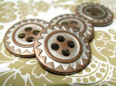 ZIG-ZAG Metal Buttons , Copper Silver Color , 4 Holes , 0.79 inch, 10 pcs by Lyanwood, $5.00
