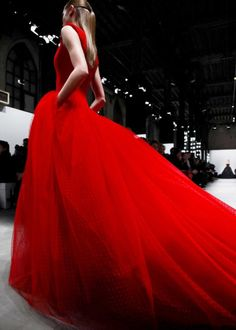 Red haute evening gown.