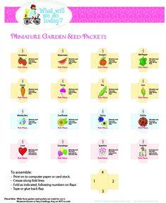 Printable Miniature 'Fairy Garden Seed packet' templates for the fairy garden