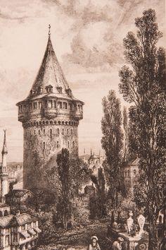 """Galata Kulesi Gravür-1840 yılında Jouannin tarafından hazırlanmış ve ahşap baskı tekniğinde basılmış """"La Turquie"""" adlı kitapta da kullanılmıştır (Paris 1840). Materyal: Orijinal ahşap baskı gravür, bordo paspartulu"""