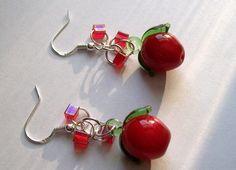 Red Cherry Earrings, Cherry Earrings, Red Cherries, Cherry Earrings, Dangling Cherry Earrings by VintagePlusCrafts on Etsy