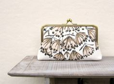 Floral evening clutch bag cream and black by ConstanceHandcrafted, $50.00