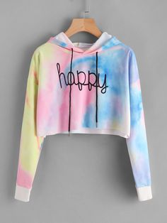 Shop Letter Print Water Color Hoodie at ROMWE, discover more fashion styles online. Swag Outfits For Girls, Cute Lazy Outfits, Girls Fashion Clothes, Crop Top Outfits, Teen Fashion Outfits, Teenager Outfits, Stylish Outfits, Kids Outfits, Cool Outfits