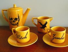 In honour of us inviting other monsters to the zombie walk.  We thought we'd make tea.  Skull Zombie Witch espresso coffee set