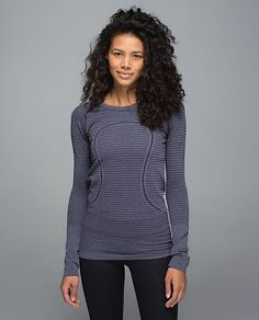 acb56f59 Lululemon Run: Swiftly Tech Long Sleeve Crew - Rugby Stripe Tonal Heathered  Ultra Violet - lulu fanatics
