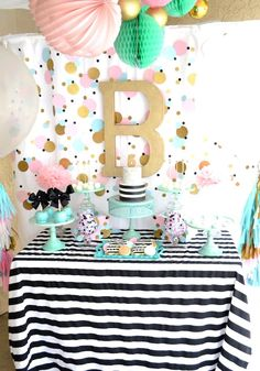 Cue The Confetti themed birthday party via Kara's Party Ideas