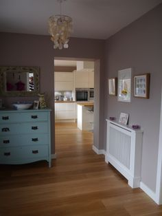 Hallway. Soft truffle walls by Dulux. Radiator cover made by Jali, woodwork in Dulux timeless. Edwardian drawers upcycled & painted in farrow & ball