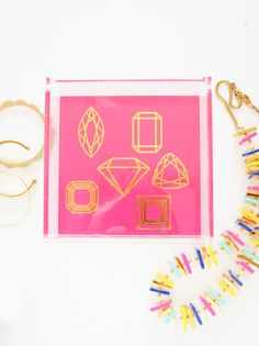Pencil Shavings Gold Foil Gemstone Lucite Tray