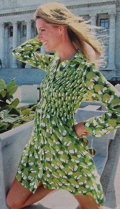 Vintage 60s Green Tree Mini Dress