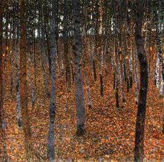 a faithful attempt: artist Gustav Klimt. using masking tape and watercolor, create your own version of the birch trees