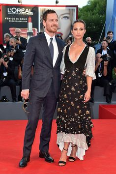 Alicia Vikander and Michael Fassbender attending The Light Between Oceans premiere in Venice. #aliciavikander #michaelfassbender #thelightbetweenoceans #venice