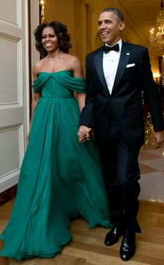 Mrs. Obama in a Marchesa silk chiffon Grecian gown. Obamas at 36th Kennedy Center Honors Gala. [more at pinterest.com/eventsbygab]