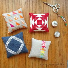 Welcome to finish it up Friday! It's been another busy week, but I have some small finishes to share today. Small, but pretty darn cute! I made these pincushions as samples for my local quilt shop. Al