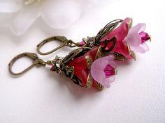 Vintage style pink flower earrings bronze flower by Jewelry2Heart