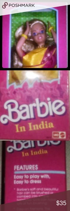 Barbie in India Vintage Barbie in India. Over the years, the bottom of the box has unsealed itself but never taken out of the box. Collectors item. Sorry for the poor images, they were taken a longtime ago. I can get better pictures upon request. Thanks for looking. I have more collectors dolls and tons of other collectibles. 💕💕 Barbie Accessories