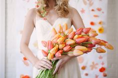 Tulips - Orange Crush Wedding Ideas by Sarah Park Events (Event Design, Styling, and Backdrop Painting) + Sweet Root Village (Photographer and Floral Design) - via ruffled