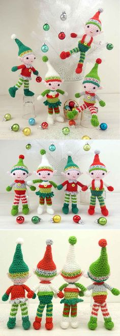 It's an elf party all up in here! This crochet Christmas elf pattern provides options to make four different elves. It kind of cracks me up how realistic they look - this is exactly what comes to mind when I picture Christmas elves! Don't they look adorable perched in a white Christmas tree? (affiliate link)